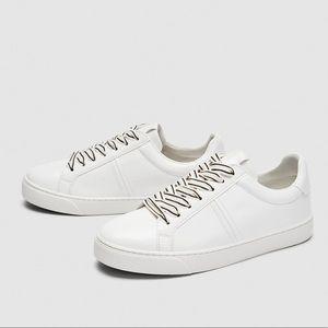 NWT ZARA White Faux Leather Sneakers Stripe Lace 7